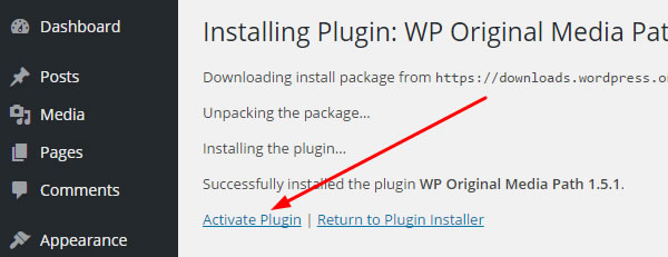 Activate WP Original Media Plugin