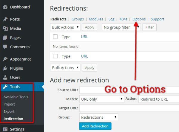Go to Redirection Plugin Options Page