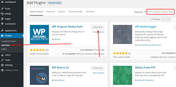 Install and Activate WP Original Media Path