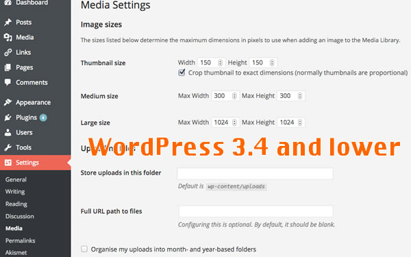 Media Folder Settings for WordPress 3.4 and Lower Versions